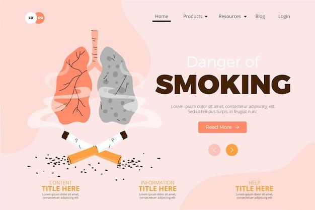 Gevaar voor roken - bestemmingspagina Gratis Vector