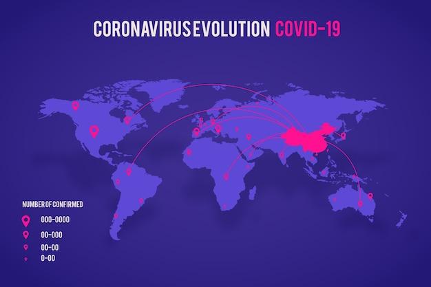 Gevallen van coronaviruskaart Gratis Vector