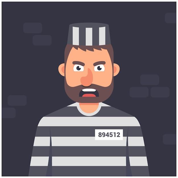 Gevangene in een cel. gestreept uniform. karakter op een donkere achtergrond vector illustratie. Premium Vector