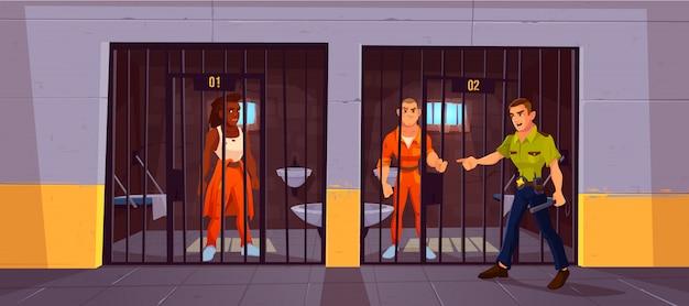 Gevangenen in gevangenis en politieagent. mensen in oranje jumpsuits in cel. Gratis Vector