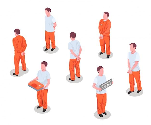 Gevangenis gevangenen criminelen gearresteerd opgesloten personen mannelijke personages in de gevangenis gedetineerde uniforme isometrische set geïsoleerde illustratie Gratis Vector