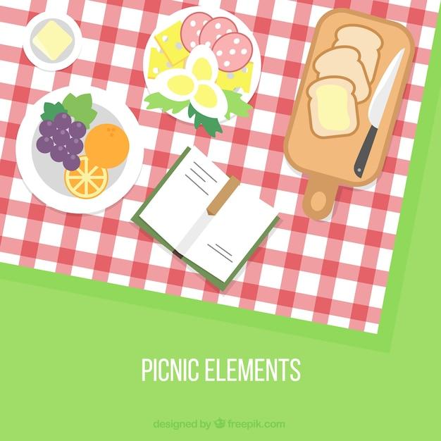 Gevarieerd picknick achtergrond Gratis Vector