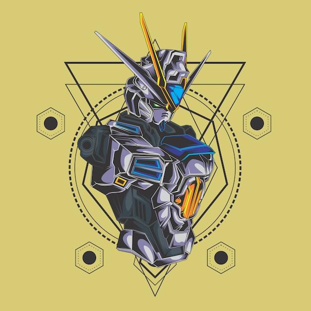 Gevechtsrobot heilige geometrie Premium Vector