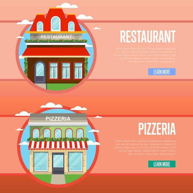 Gevel van pizzeria en restaurant banner set Premium Vector