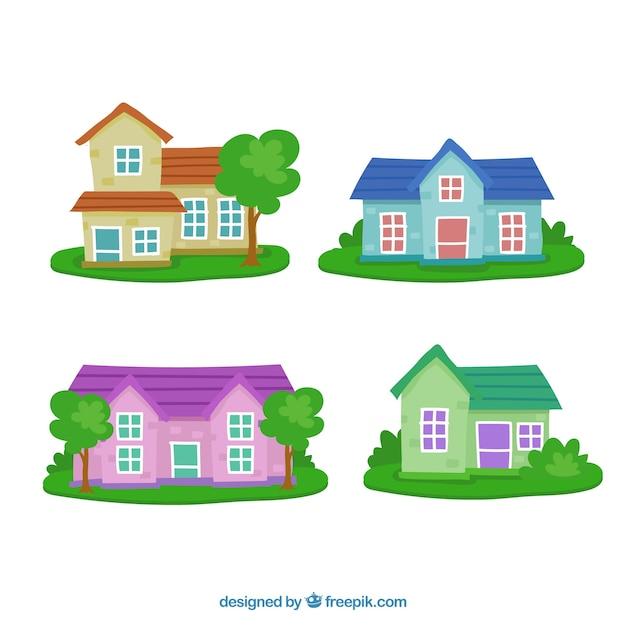 Gevels van huizen met tuinen pak Gratis Vector