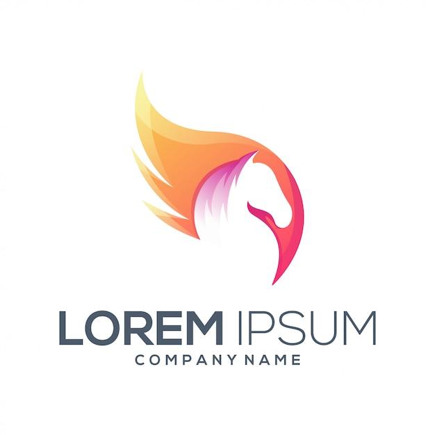 Gevleugeld paard logo Premium Vector
