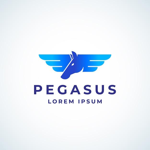 Gevleugelde pegasus absrtract teken, symbool of logo sjabloon. Gratis Vector