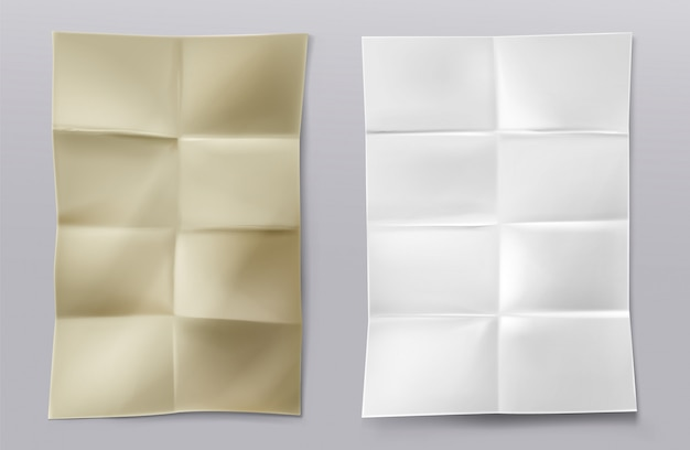 Gevouwen blanco witte en kraftpapier vellen Gratis Vector