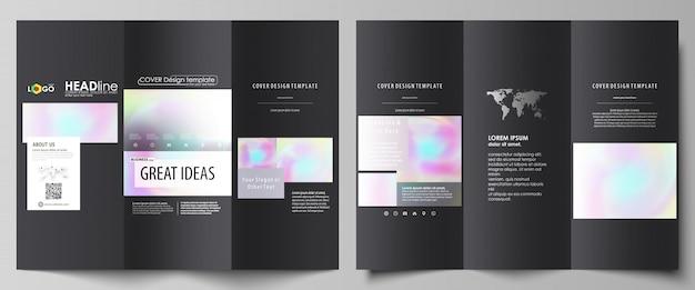 Gevouwen brochure zakelijke sjablonen aan beide zijden. Premium Vector