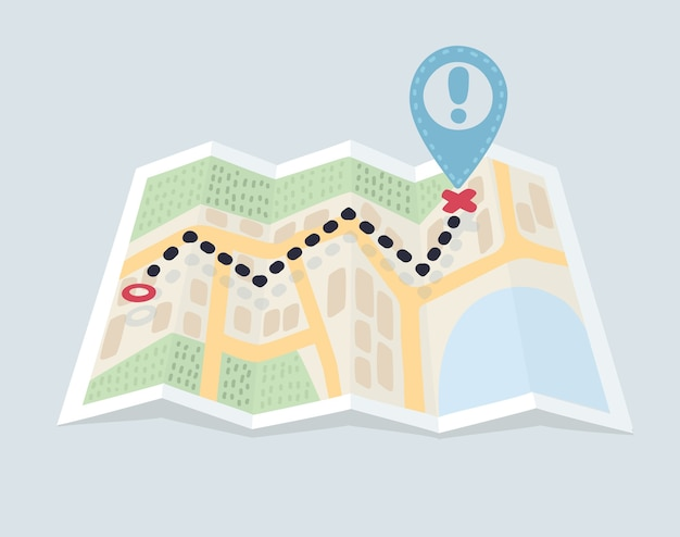 Gevouwen kaartnavigatie met ontwerp met rode kleurpuntmarkeringen Premium Vector