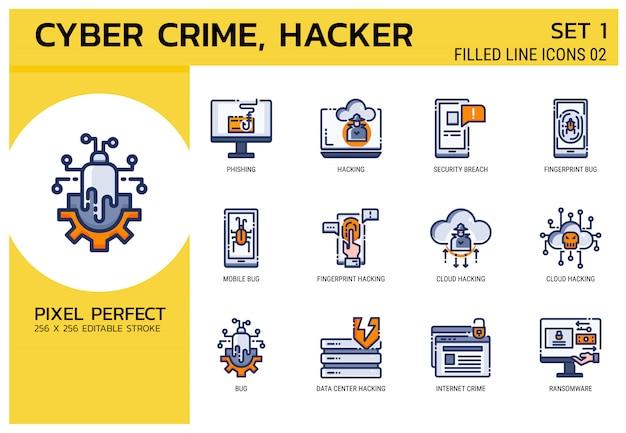 Gevulde lijn pictogrammen stijl. hacker cyber misdaadaanval Premium Vector