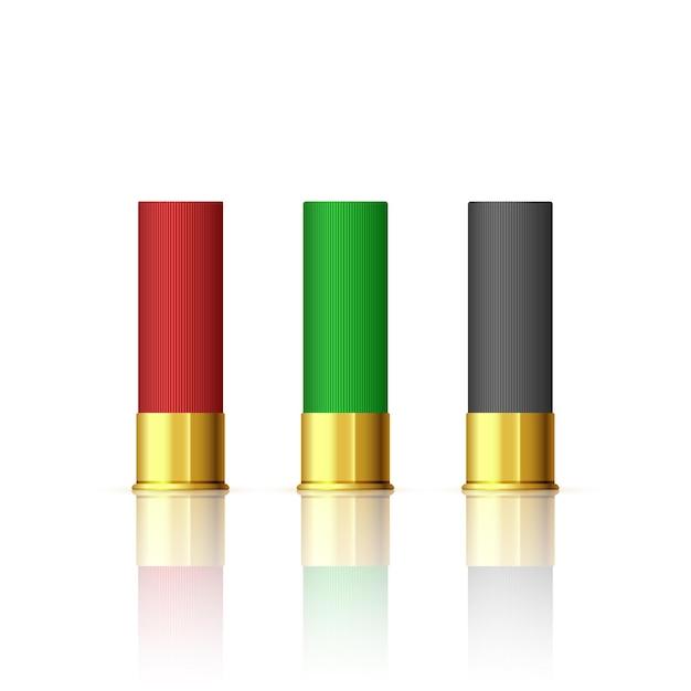 Geweer bullet set. shotgun hunting vuurwapenpatronen. verschillende rifle bullet. Premium Vector