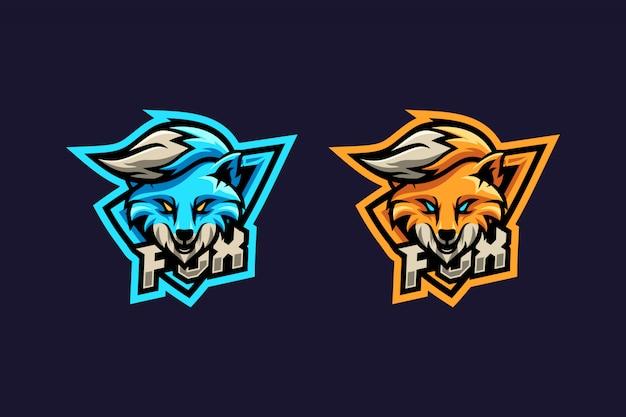 Geweldig blauw en oranje voslogo Premium Vector