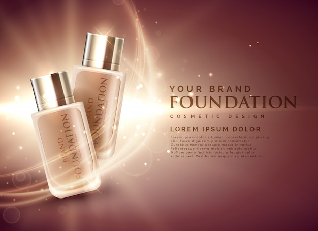 Geweldig cosmetische foundation product advertenties 3d illustratieconcept Gratis Vector