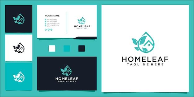 Geweldig huis en blad drop olie logo ontwerpsjabloon Premium Vector