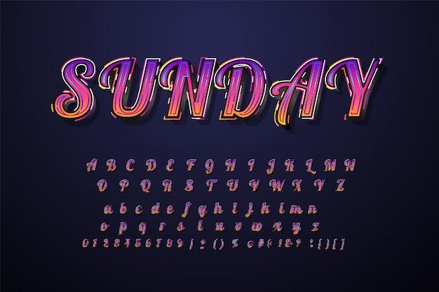 Geweldig lettertype 3d vetgedrukte typografie Premium Vector