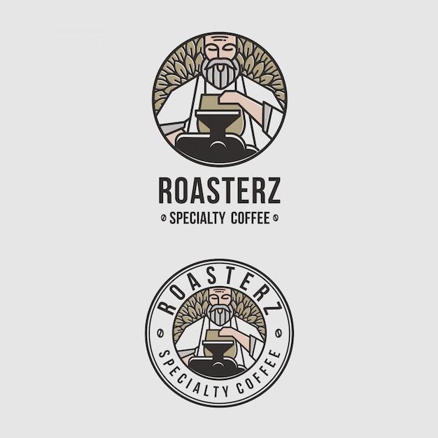 Geweldig logo-embleem voor coffeeshops Premium Vector