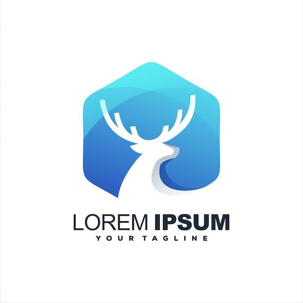 Geweldig logo met kleurovergang herten Premium Vector