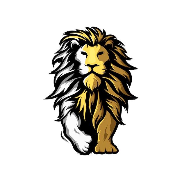 Geweldig logo met mascotte leeuw Premium Vector