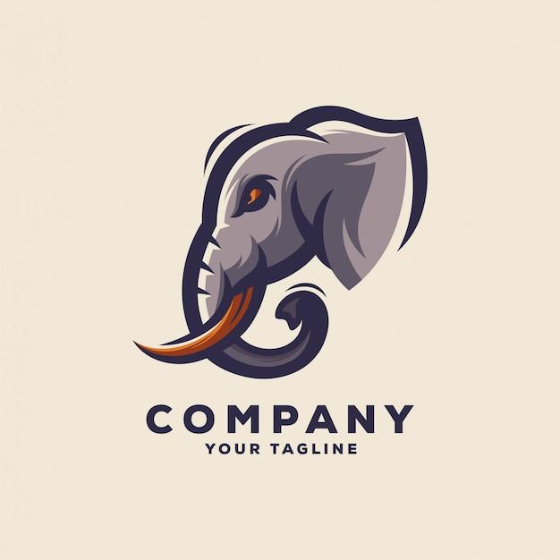 Geweldig logo met olifantshoofd Premium Vector