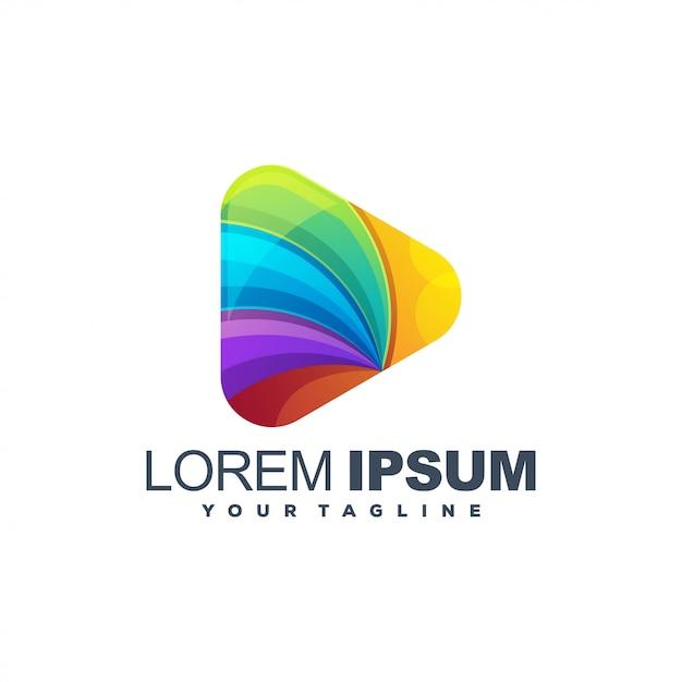Geweldig media kleurrijk logo Premium Vector