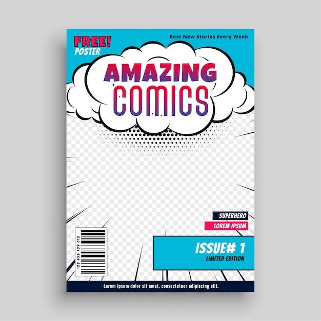 Geweldig stripboek voorbladsjabloonontwerp Gratis Vector