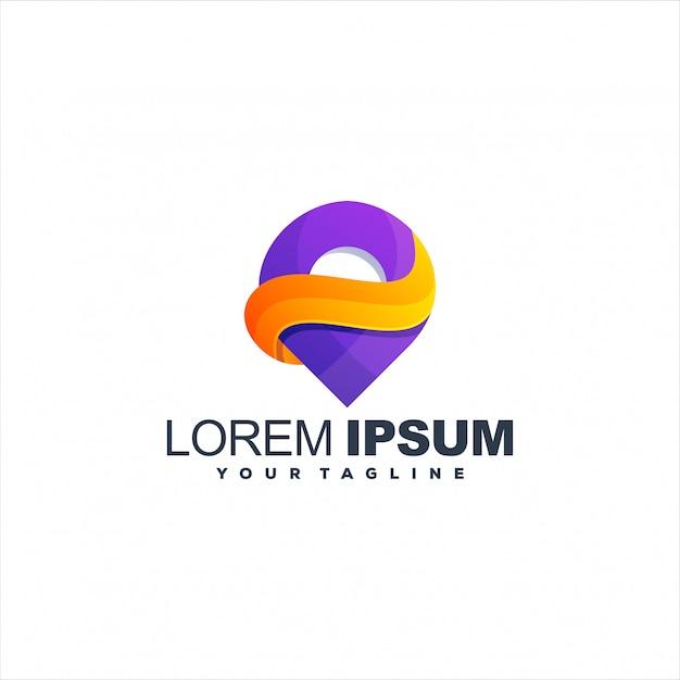 Geweldig verloop pin-logo Premium Vector