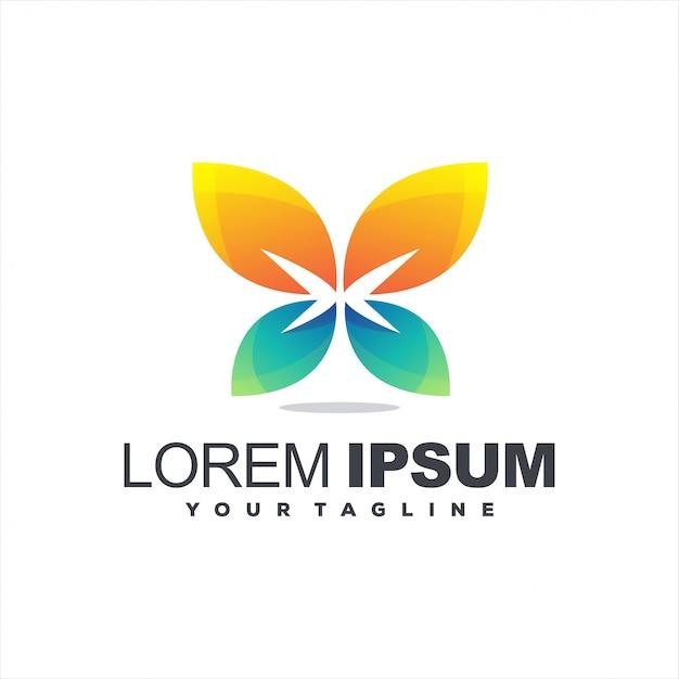 Geweldig verloop vlinder logo Premium Vector
