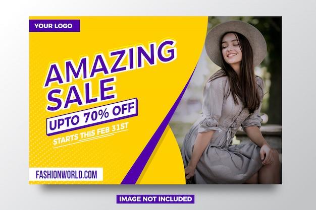 Geweldige aanbieding banner sjabloon Premium Vector