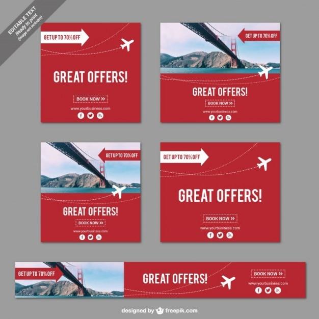Geweldige aanbiedingen banners voor reizen Gratis Vector