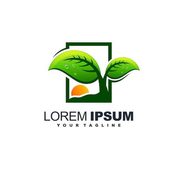 Geweldige boom blad logo ontwerp vector Premium Vector