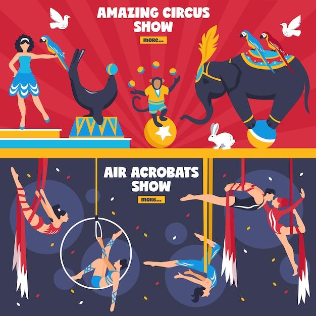 Geweldige circus-banners ingesteld Gratis Vector