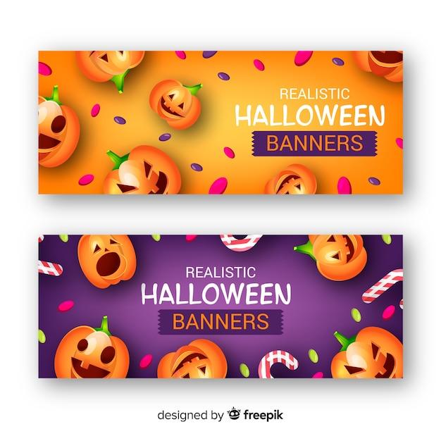 Geweldige halloween-banners met realistisch ontwerp Gratis Vector