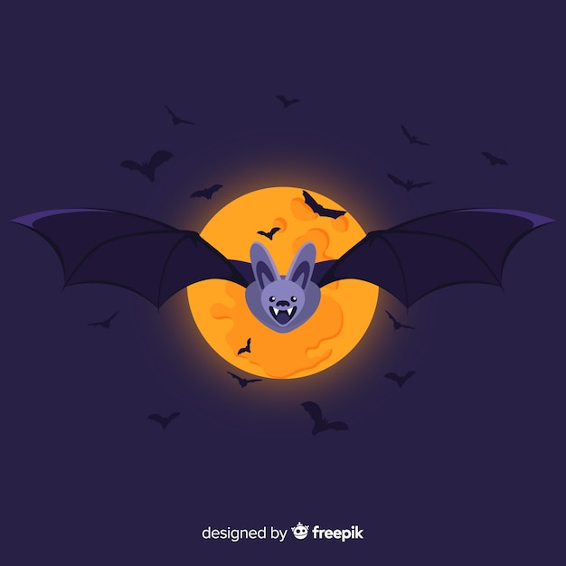 Geweldige halloween-knuppel met vlak ontwerp Gratis Vector