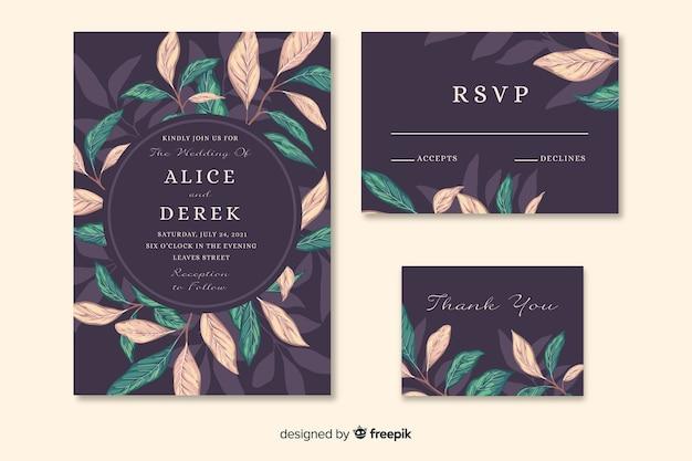 Geweldige huwelijksuitnodiging met artistieke geschilderde bladeren Gratis Vector