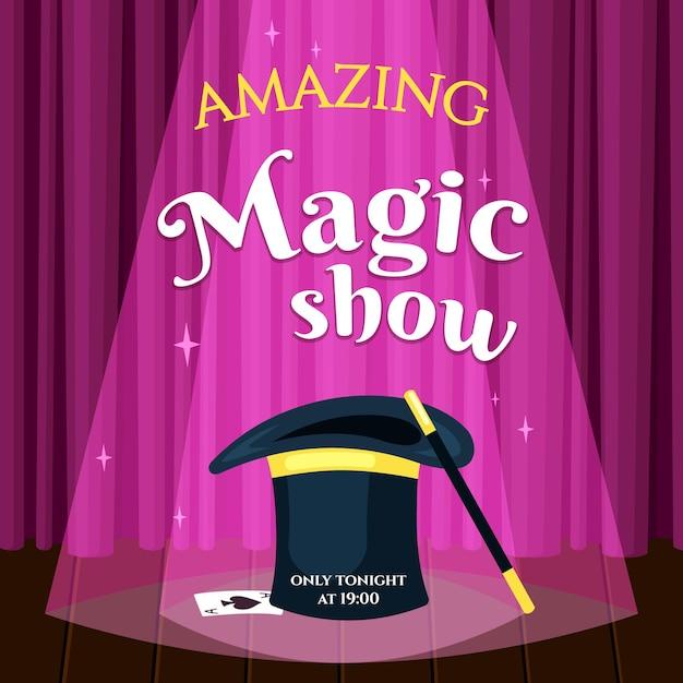 Geweldige magische show-poster Premium Vector