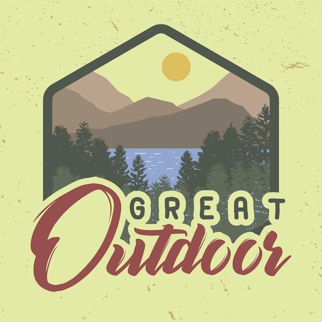 Geweldige slogan met trendy t-shirts in de natuur. Premium Vector
