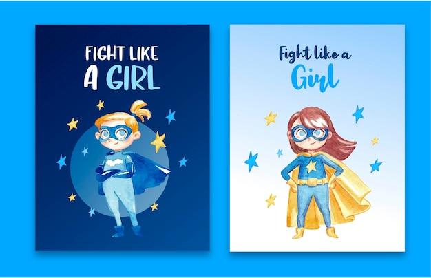 Geweldige verzameling vrouwelijke superheldenkaarten Gratis Vector