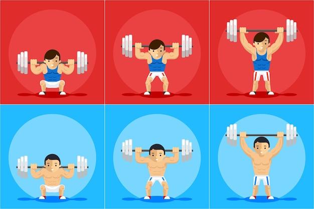 Gewichtheffen animatiekarakter. sporttraining, halter en kracht, volgorde en handleiding Gratis Vector