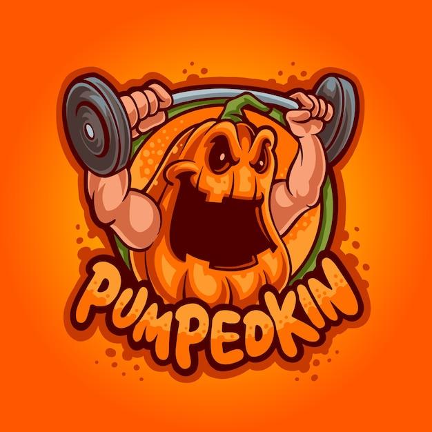 Gewichtheffen pompoen mascotte logo Premium Vector