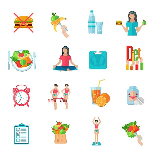 Gewichtsverlies gezonde voeding plan plat pictogrammen instellen Gratis Vector