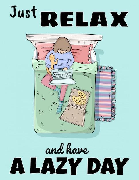 Gewoon ontspannen en een luie dag hebben. Premium Vector
