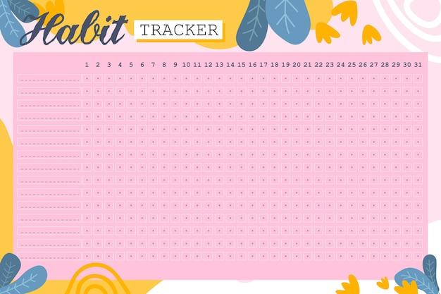 Gewoonte tracker-sjabloon op roze achtergrond Gratis Vector