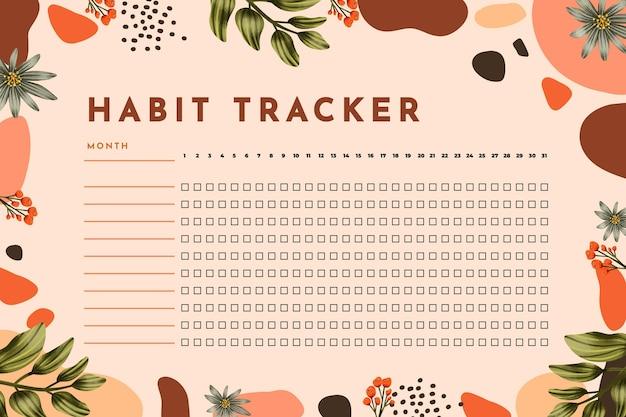 Gewoonte tracker-sjabloon Premium Vector