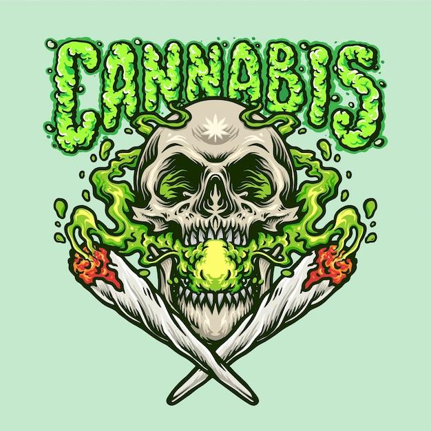 Gezamenlijke rokende schedel cannabis gezamenlijke illustraties Premium Vector