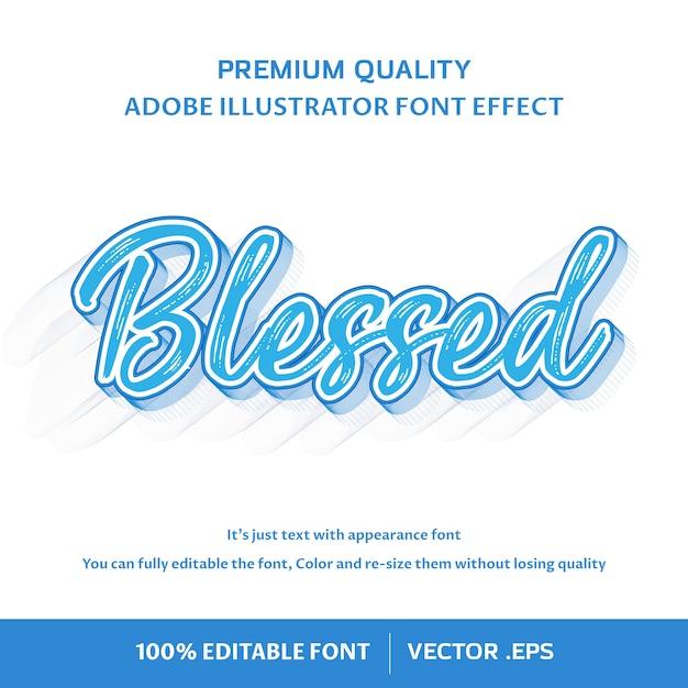 Gezegend - bewerkbaar lettertype-effect Premium Vector