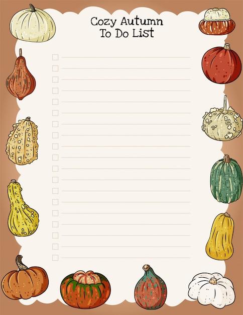 Gezellige herfst weekplanner en takenlijst met trendy pompoenen ornament. Premium Vector