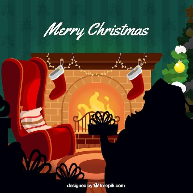 Gezellige Kerst Huis Achtergrond Met Open Haard Vector Premium