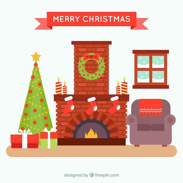 Gezellige Kerst Woonkamer Met Open Haard Vector Gratis Download