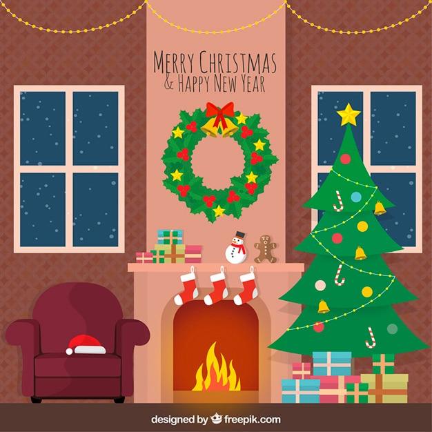 Gezellige Kerst Woonkamer Vector Gratis Download